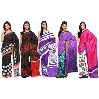 Aryahi Multicolor Crepe Printed Sarees (Combo of 5)