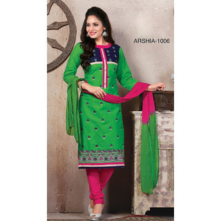 Trendz Apparels Green Cotton Straight Fit Salwar Suit