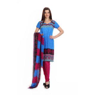 Aryahi Blue Crepe Printed Dress Material