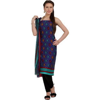 Aryahi Blue Synthetic,Crepe Printed Dress Material