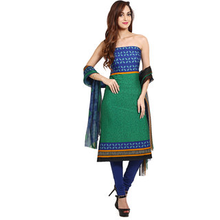 Aryahi Green Synthetic,Crepe Printed Dress Material