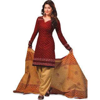 Aryahi Red Cotton Printed Dress Material