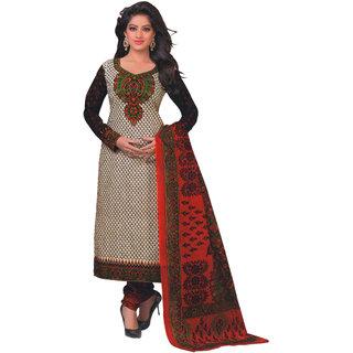 Aryahi White Cotton Printed Dress Material