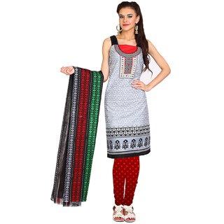 Aryahi Grey Cotton Printed Dress Material