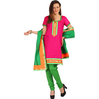 Satrang Pink Jacquard Printed Dress Material