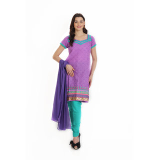 Aryahi Purple Poly Cotton Printed Dress Material