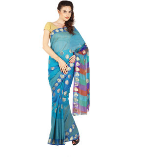 Parchayee Blue Silk Self Design Saree Without Blouse