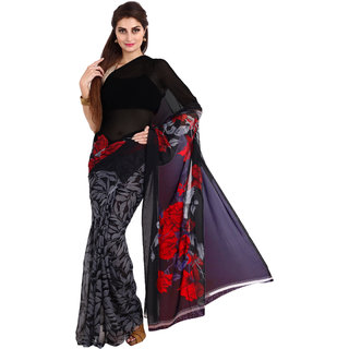Parchayee Black Georgette Floral Saree Without Blouse