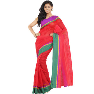 Parchayee Red Net Self Design Saree Without Blouse