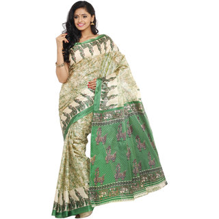 Parchayee Green Silk Printed Saree Without Blouse