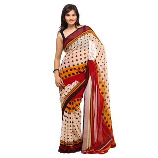 Parchayee Red Georgette Polkadot Saree Without Blouse