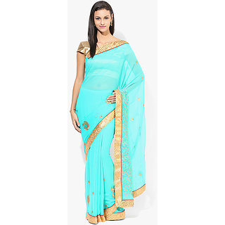 Parchayee Green Chiffon Embroidered Saree Without Blouse
