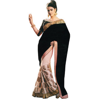 Parchayee Black Georgette Plain Saree Without Blouse