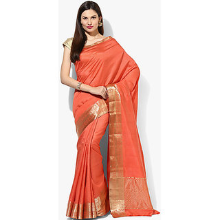 Satrang Orange Tussar Silk Solid Saree