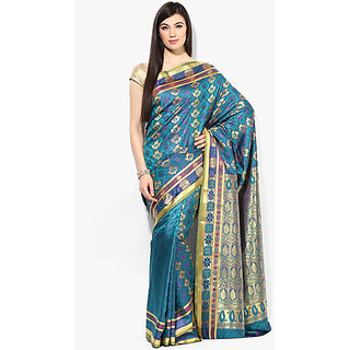 Parchayee Green Crepe Printed Saree Without Blouse