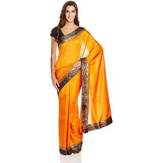 Parchayee Orange Silk Plain Saree Without Blouse