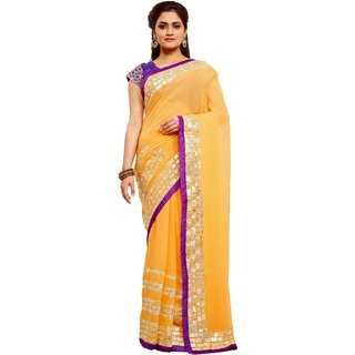 Avinandan Gold Embroidered Georgette Party Wear Saree