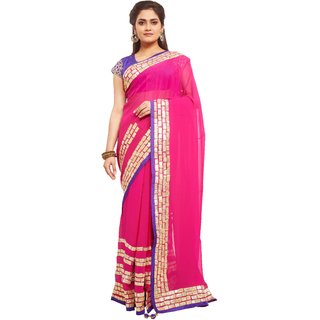 Avinandan Pink Party Embroidered Georgette Wear Saree