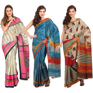 Aryahi Multicolor Art Silk Printed Sarees (Combo of 3)