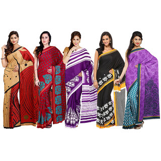 Satrang Multicolor Crepe Printed Sarees (Pack of 5)