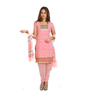 Aryahi Pink Cotton Printed Dress Material