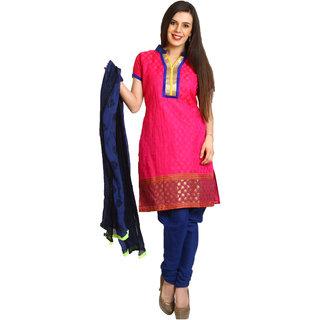 Aryahi Pink Art Silk Embroidered Dress Material
