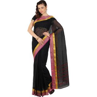 Satrang Black Cotton Solid Saree