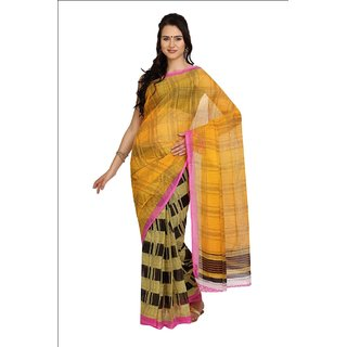 Parchayee Yellow Net Printed Saree Without Blouse
