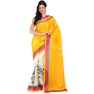 Parchayee Yellow Silk Printed Saree Without Blouse