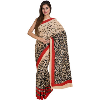 Parchayee Beige Crepe Printed Saree Without Blouse