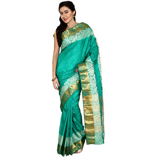 Satrang Green Tussar Silk Embroidered Saree