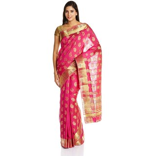Parchayee Pink Silk Printed Saree Without Blouse