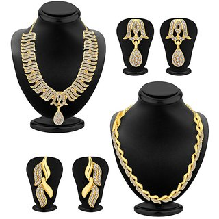 Meia Gold Plated Gold Alloy Necklace Set For Women (Set of 2)
