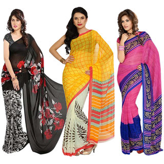 Aryahi Multicolor Georgette Printed Sarees (Combo of 3)