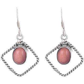 Sheelas brown color white metal earring for women code no485