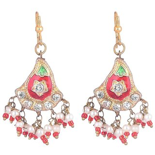 Sheelas Red color brass earring for women code no505