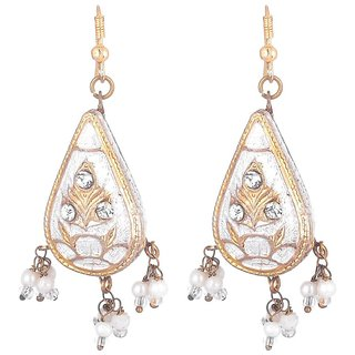 Sheelas white color Brass earring for women code no529