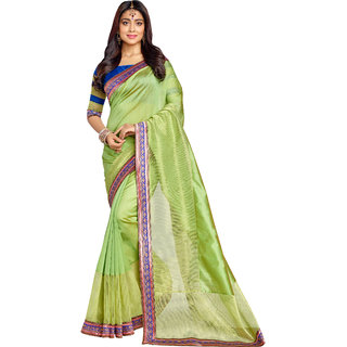 Vaikunth Net silk Light green Printed Laced work Party wear Saree with unstitched blouse