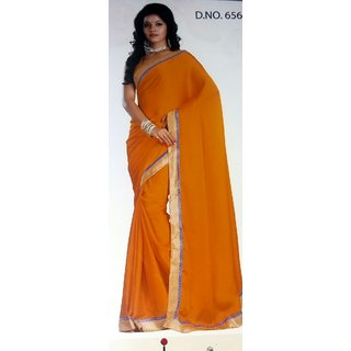 Neel Kamal Vastralaya Yellow Chiffon Plain Saree With Blouse