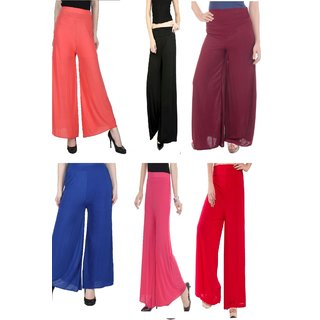 @rk Causal Red,Black,Royal,Pink,Mahron and Orange combo Pack of 6 Plazzoo,trouser