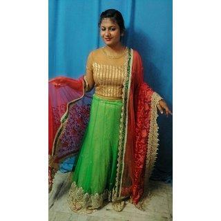 2ddfff8e301f2 Buy Chunri green lahanga Online   ₹11999 from ShopClues