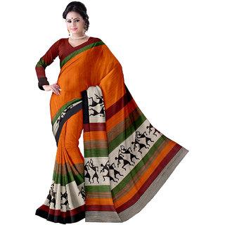 SCS Multicolor Crepe Self Design Saree With Blouse