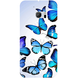 Casotec Flying Butterfly Colorful Design 3D Hard Back Case Cover for HTC One M10