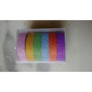 Set Of 6 Colurful Gliter Tape