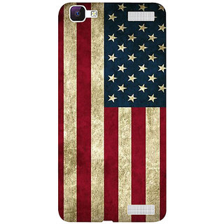 Casotec Vingate USA Flag Design 3D Hard Back Case Cover for Vivo V1 Max