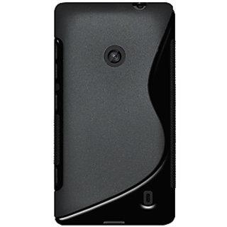 Amzer 95686 TPU Hybrid Case - Solid Black for Nokia Lumia 520