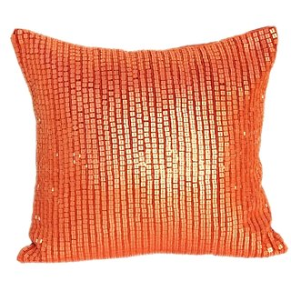 Sequence Embroidery Cushion Cover orange
