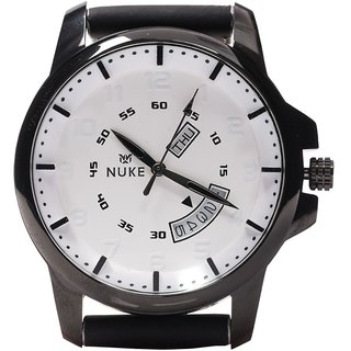 Nuke Black Leather Analog Watch for Men