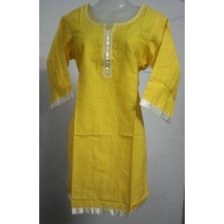 Yellow hand embroidered cotton kurti / kurta / top / kurties for women / ladies / girls 2