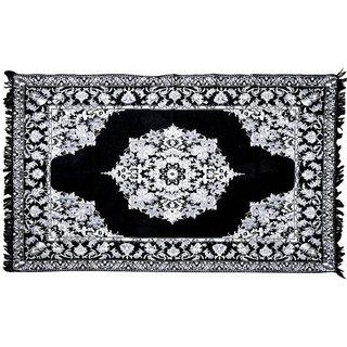P Home Decor Shaneel Fabric Carpet (5feet x 7feet), Black